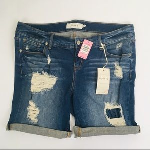 NWT Torrid Women's 14 Distressed Blue Jean Shorts
